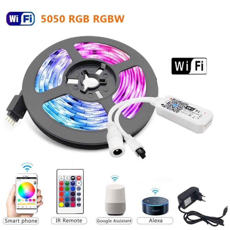 5 м 10 м 15 м RGBW/RGBWW RGB 5050 60 Светодиодный s светодиодный полосы светильник Luces светодиодный светильник полосы DC12V гибкая лента IR WiFi Contoller + адаптер ...