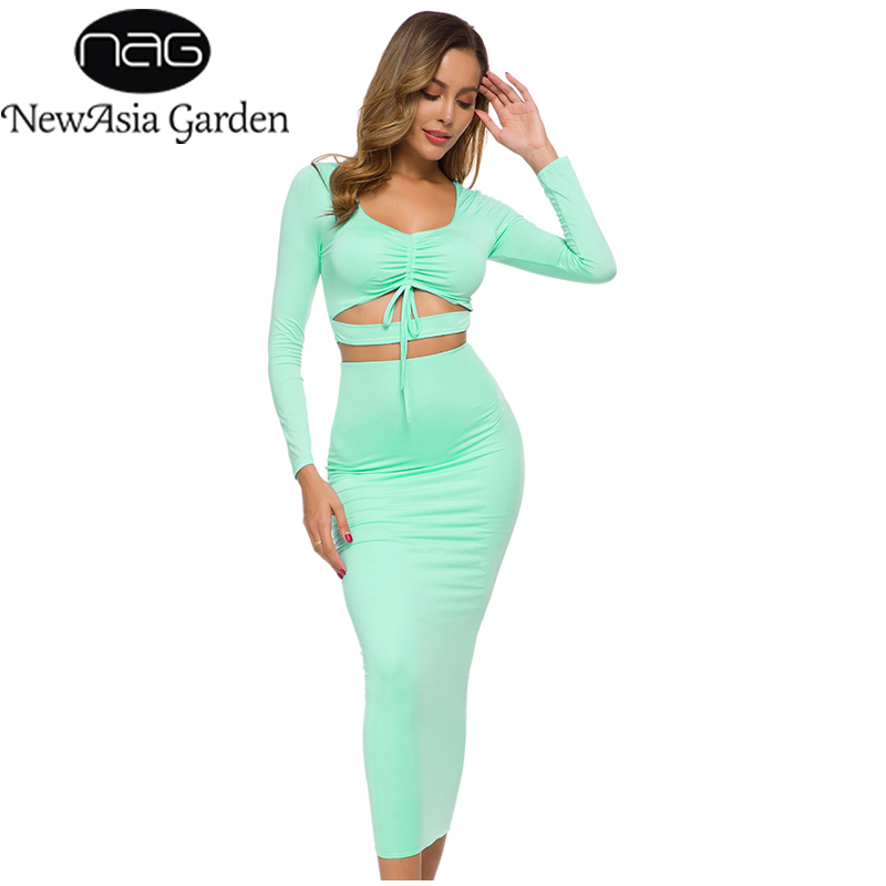 NewAsia Sexy Two Piece Set Women 2 Piece Outfits Autumn Long Sleeve Hollow Out Crop Top Skirt Plus Size Bodycon Matching Sets