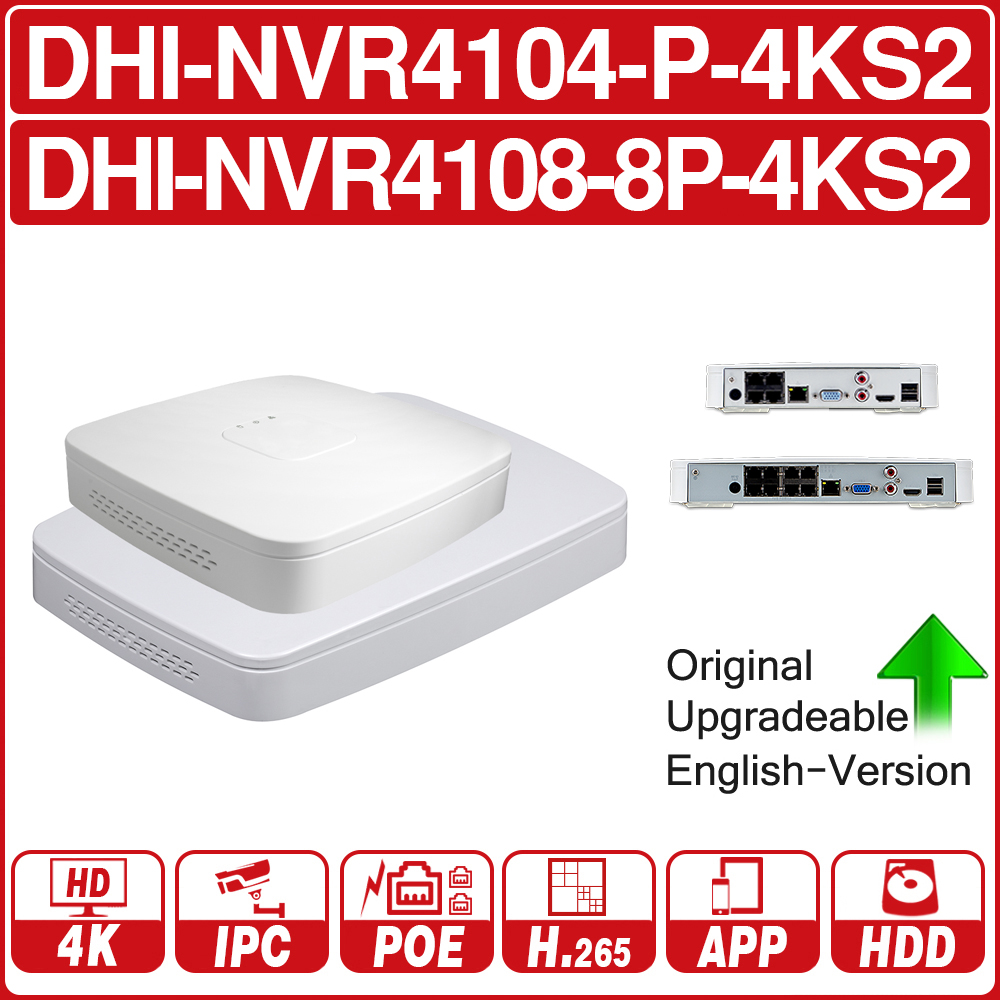 DH 4K POE NVR NVR4104-P-4KS2 NVR4108-8P-4KS2 With 4/8ch PoE H.265 Video Recorder Support ONVIF 2.4 SDK CGI With Logo.