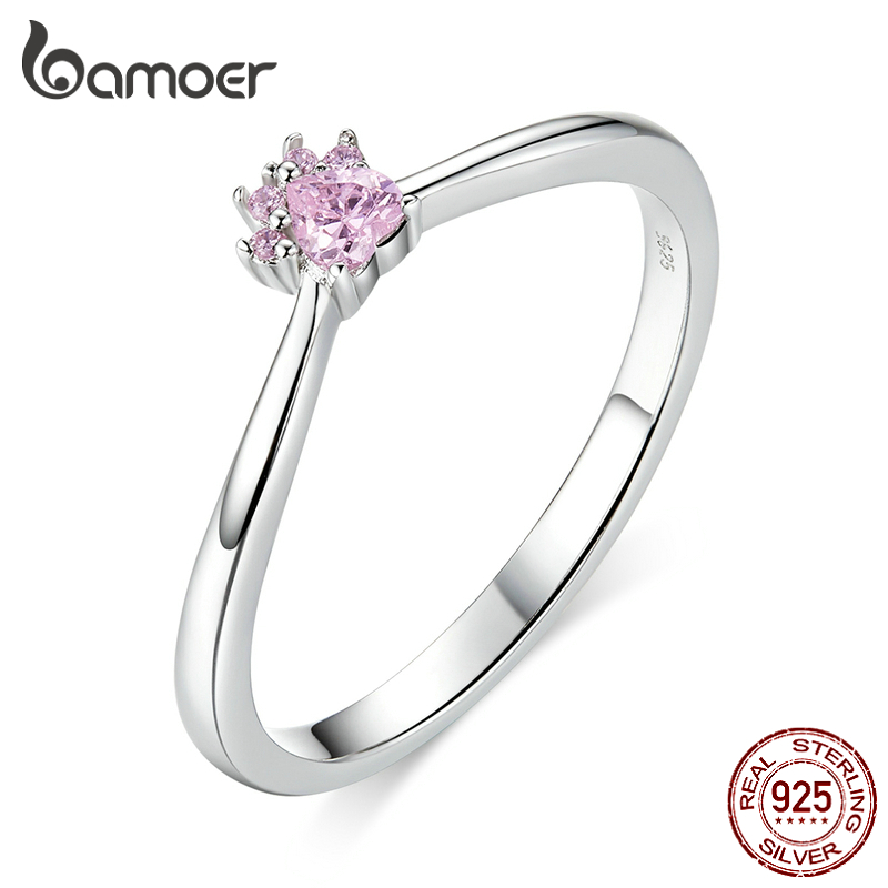 BAMOER Real 100% 925 Sterling Silver Classic Dog Paw Pink Clear CZ Finger Rings For Women Sterling Silver Jewelry SCR628