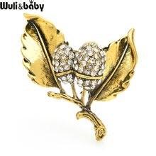 Wuli & baby-broches Vintage de pino dorado para mujer, broches de hojas de pino con diamantes de imitación de Metal, broche informal, regalos