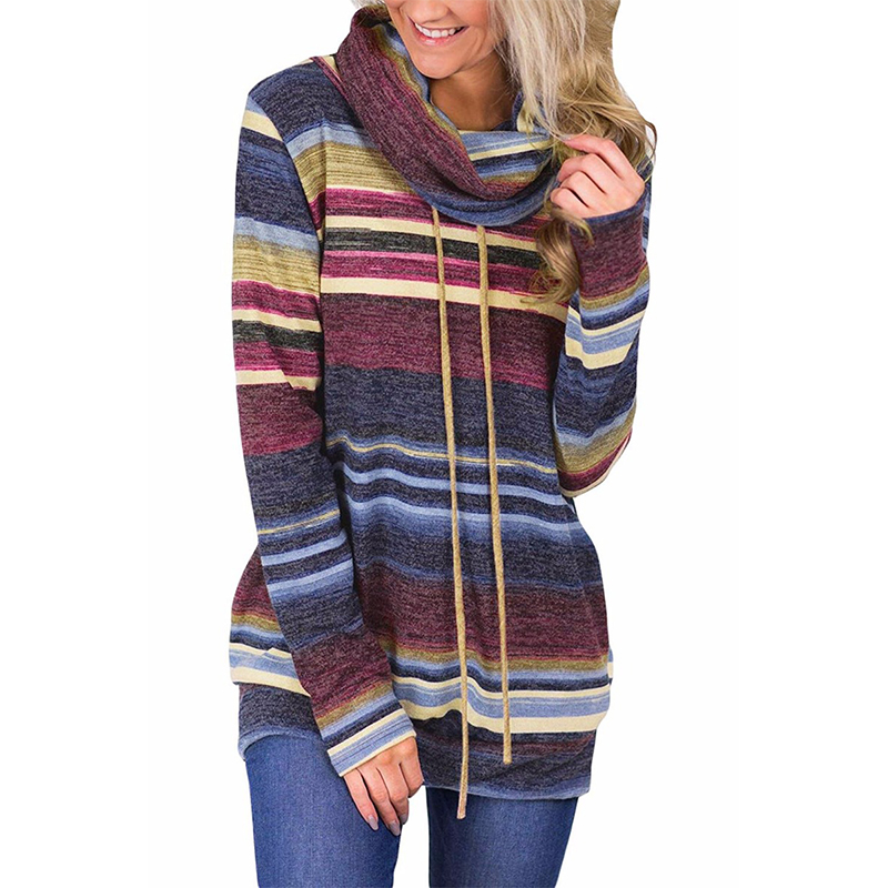 Mid-length Pullover Sweater Women Multi-color Striped Pocket Long-sleeved Turtleneck Drawstring Hoodie Cotton Female 2020 Spring