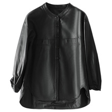 Simple Spring 2021 New High Quality Soft Sheepskin Black Jacket Women