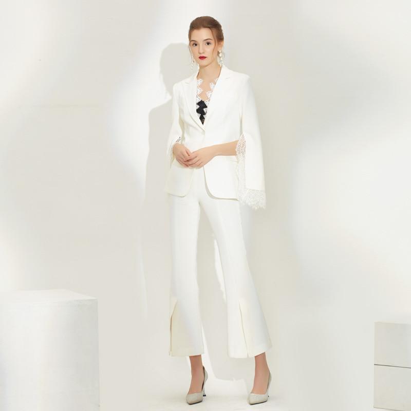 Elegant Wide Leg Pants Suits For Women Autumn Winter White Lace Blazer Jacket Office Ladies Stylish Clothes Two Piece Set Female