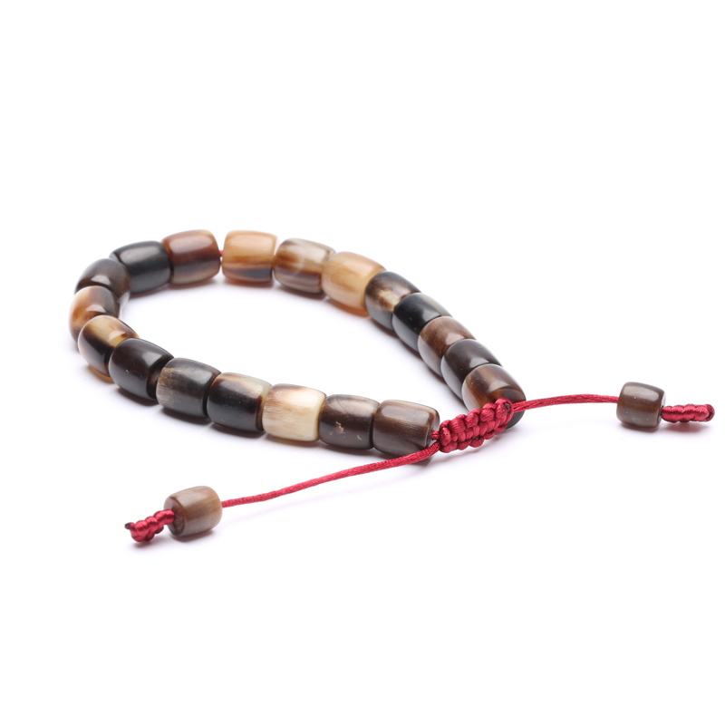 Handmade natural buffalo horn, retractable bracelet, jewelry, hand-woven in ethnic style