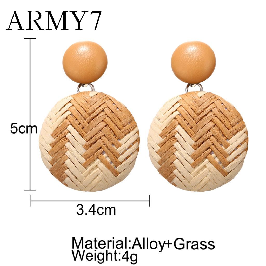 Buatan Tangan Kayu Anting-Anting Lingkaran Gaya Bohemian Kayu Bambu Rotan Geometris Anting Anting-Anting Wanita Besar Kepribadian Perhiasan Hadiah