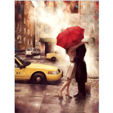 5D DIY Diamond Painting Couple Street Scenery Embroidery Cross-stitch Full Circle Mosaic Gift