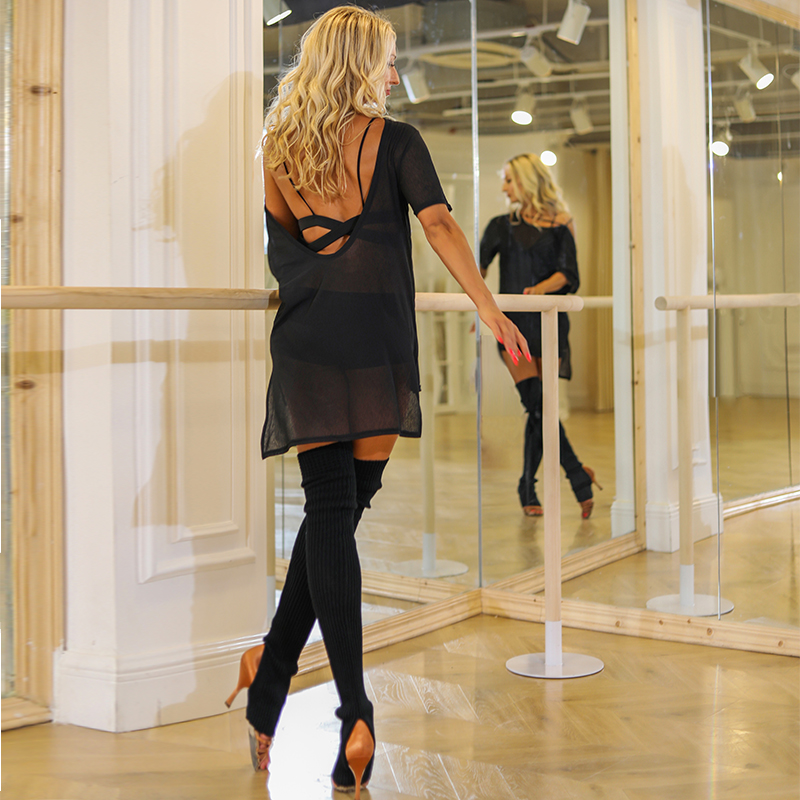 Black Latin Dance Dress Women Loose Backless Tops Salsa Tango Ballroom Dancing Practice Wear Samba Rumba Training Outfit PY238