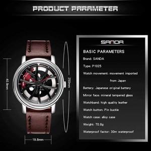 Image 2 - Car Wheel Watch Men Personality 360 Degree Rotating Watches Waterproof Quartz Wristwatch SANDA Top Brand Luxury tourbillon reloj