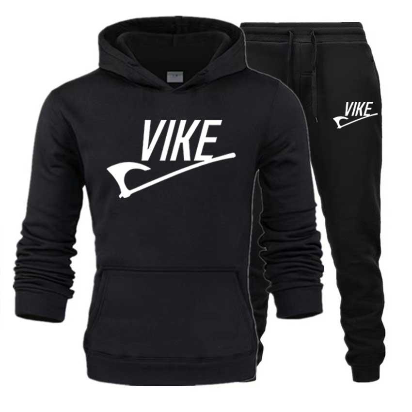 Men's Sets Hoodies+Pant Vike Print Sportswear Sport Suits Casual Streetwear Hoodie Set Pullover Tracksuit Men Clothes Wholesale
