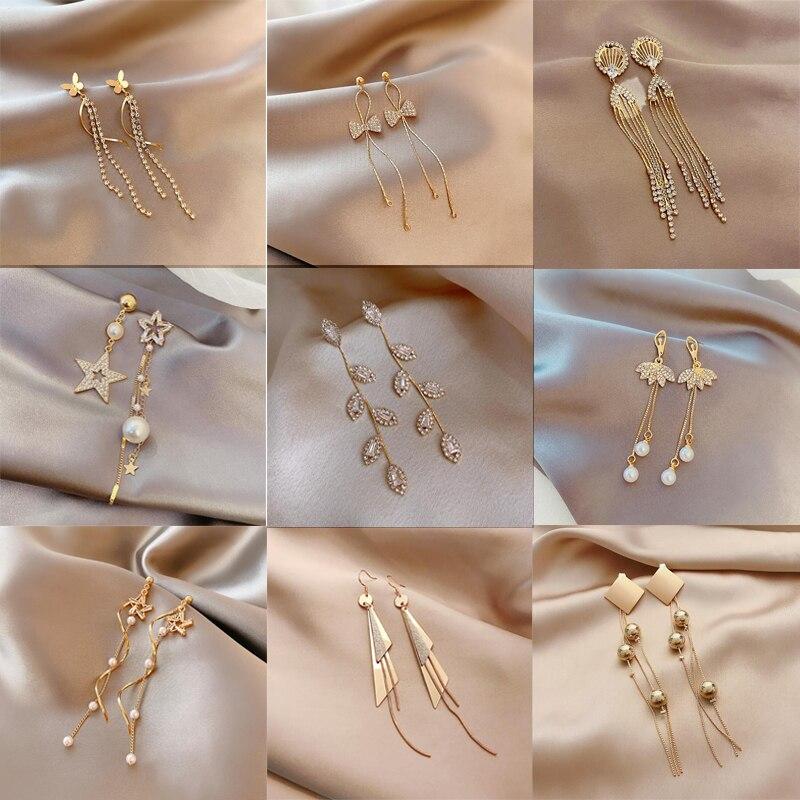 JUWANG 2021 INS vendita calda Vintage Piercing orecchino lungo nappa per le donne di lusso Bling orecchini Jewerly Pendientes Mujer