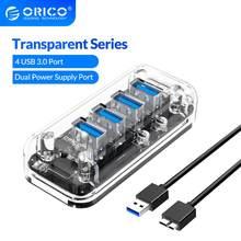 ORICO USB3.0 HUB multiples formes 4 7 ports haute vitesse séparateur Micro USB Port d'alimentation pour ordinateur portable OTG adaptateur série transparente