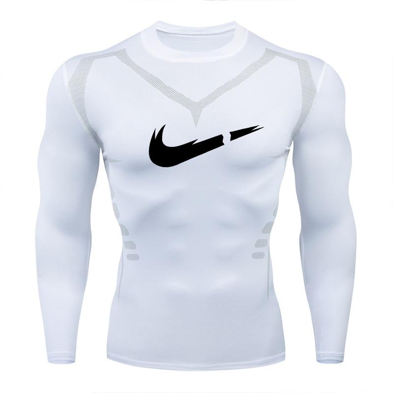 2019Men Compression Shirt MMA Rashguard Keep Fit Fitness Long-sleeved Bottom Skin Tight-fitting Stretch Elastic Men's T-shirt