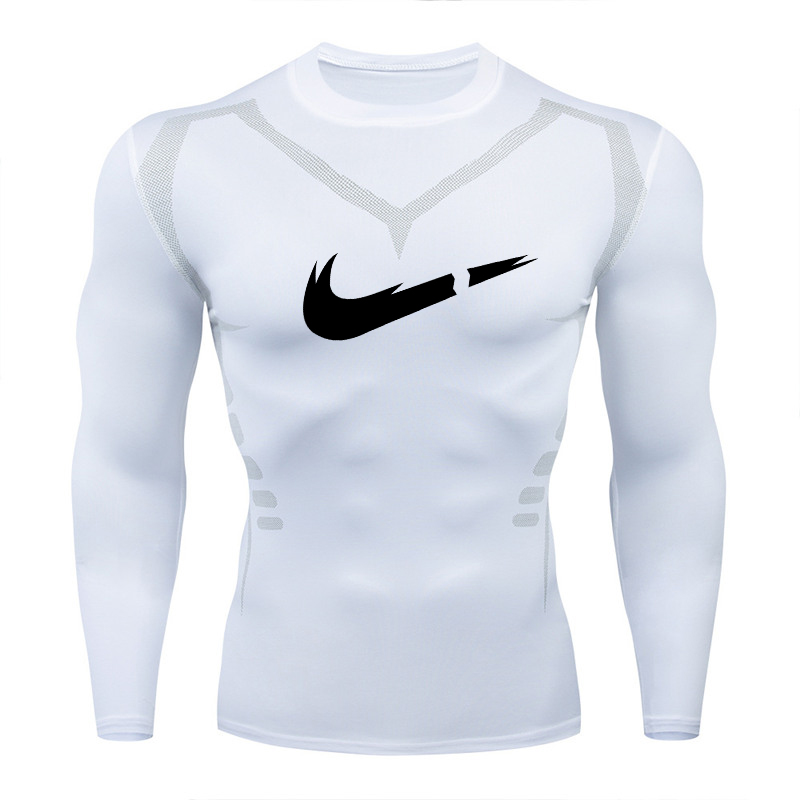 2019Men compression   shirt   MMA Rashguard Keep Fit fitness long-sleeved bottom skin tight-fitting stretch elastic men's   T  -  shirt