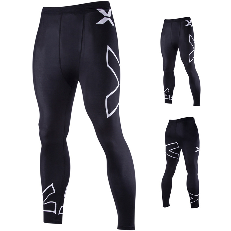 Cycling Pants Men's SMT Hot Selling Men Europe And America X Printed Letter Elasticity Tight Trousers 8814