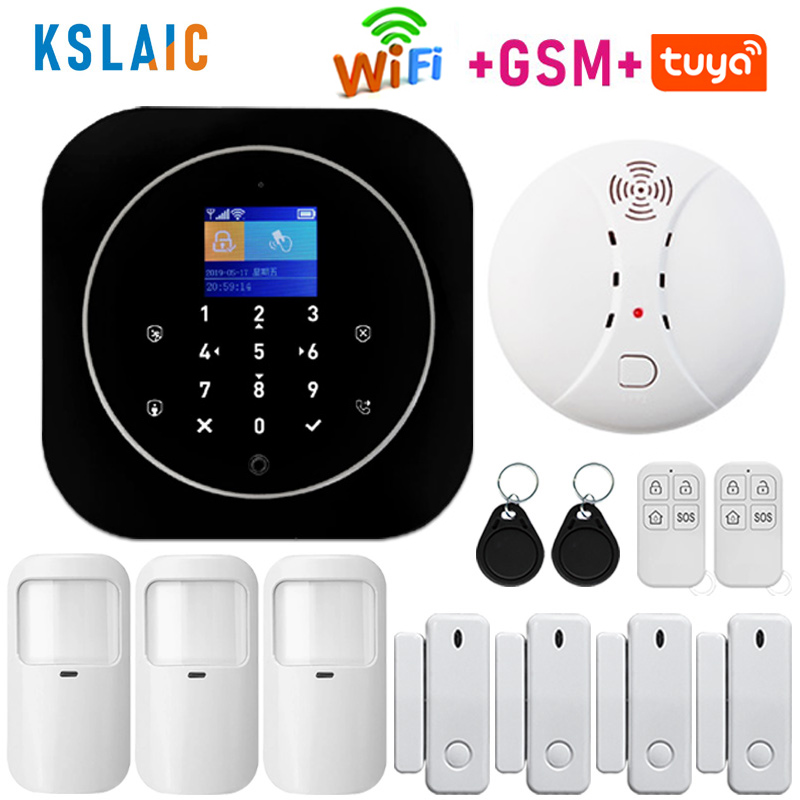Wireless Home Security Wifi GSM Alarm System RFID LCD Keypad Autodial Siren Sensor Kit Tuya Smart App Control Motion Detector
