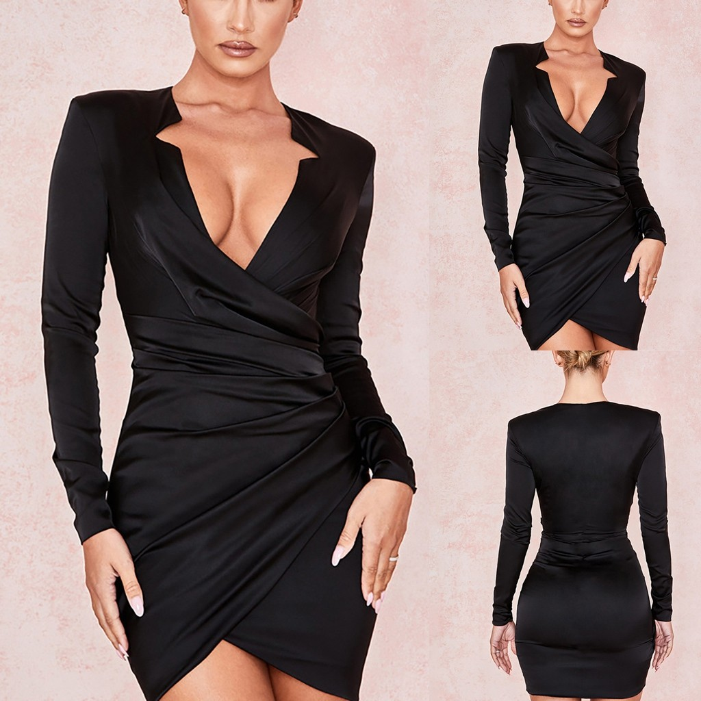 Women V-neck Solid Color Long Sleeve Wrap Waist Slim Fit Casual Mini Dress Women Party Women Dress Dropshipping