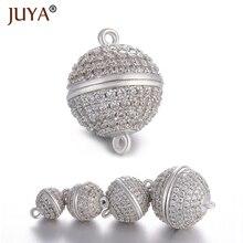 JUYA 10ps بالجملة فاخر AAA الزركون تشيكوسلوفاكيا تمهيد الكرة مشابك ممغنطة السنانير ل قلادة سوار نهاية الخرز سلسلة المشبك النتائج