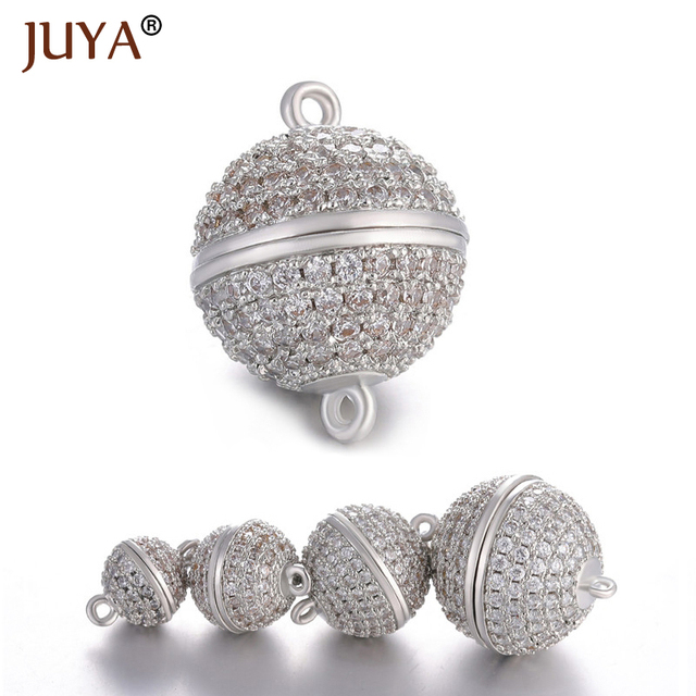 JUYA 10ps Wholesale Luxury AAA Zircon CZ Pave Ball Magnetic Clasps Hooks For Necklace Bracelet End Beads Chain Clasp Findings