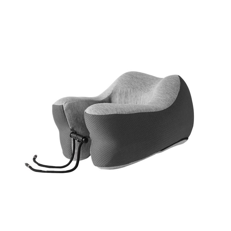 Подушка для путешествий Memory Foam Шейная подушка для шеи для самолета автомобильные офисные подушки u-образная Подушка подбородник для головы - Цвет: Темно-серый