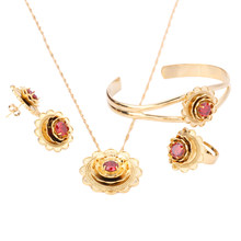 Ethiopian Gold Color Flower Jewelry Pendant Trendy Necklace Bangle Earrings Ring Jewelry Sets(China)