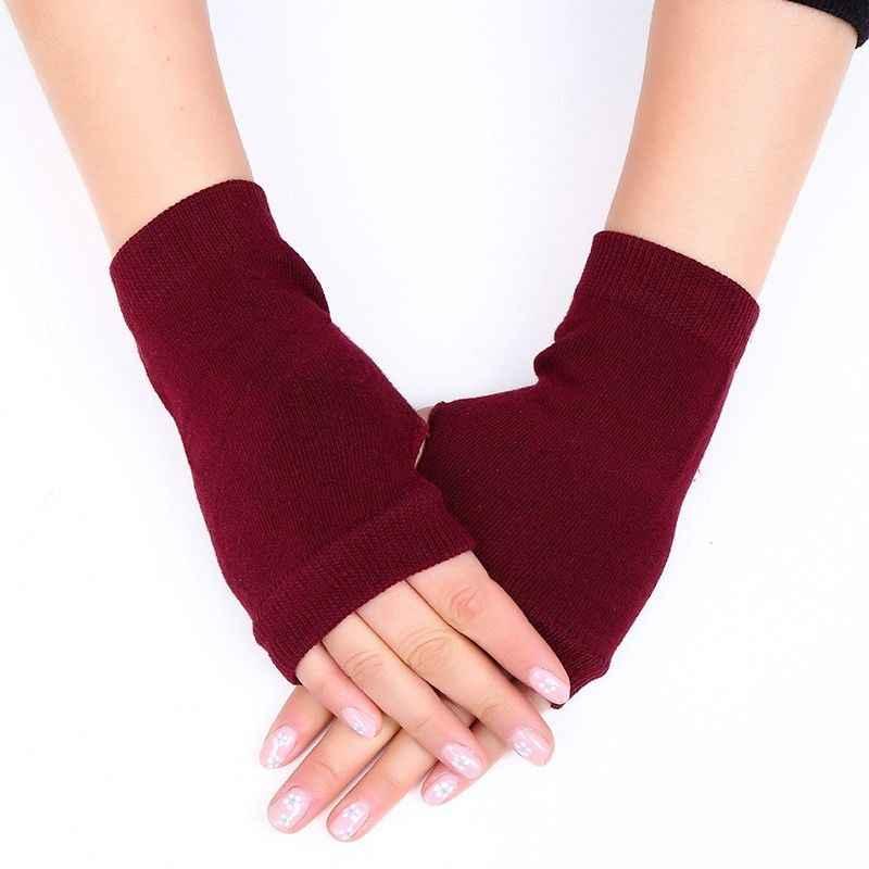 1 زوج الشتاء قفازات الإناث أصابع قفازات دون أصابع النساء الكشمير قفازات الشتاء الدافئة اليد المعصم دفئا القفازات