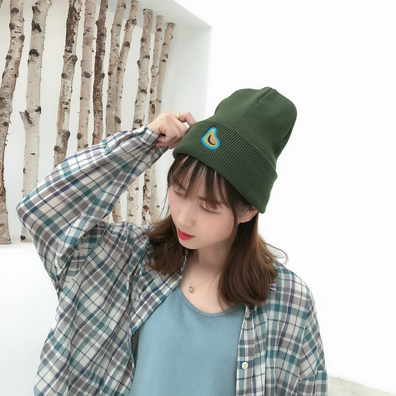 Hat Warm-Hat Wild-Caps Embroidery Knitted Wool Female Autumn Winter Street New Hip-Hop