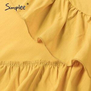 Image 5 - Simplee vestido com decote em v boho, de algodão, manga curta, de férias, praia, maxi vestido casual, cor lisa, amarelo, primavera/verão, envoltório