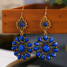 Ohemian Ethnic Dangle Earrings For Women Vintage Alloy Hollow Out Round Sun Flower Resin Long Earrings pendientes vintage tassel green dangle earrings pendientes hollow out boho long resin earrings for women ethnic indian jewelry e5d065