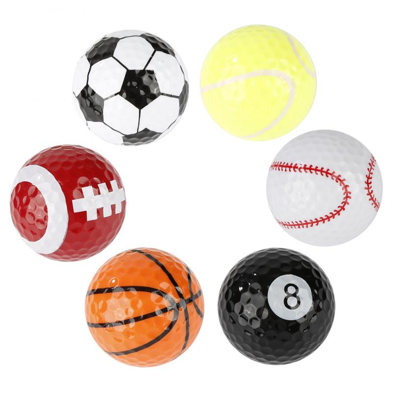 6 Pcs/set Novelty Colorful Golf Ball Set Portable Rubber Golf Balls Indoor Outdoor Practice Training Aids Sports Balls Golf Ball