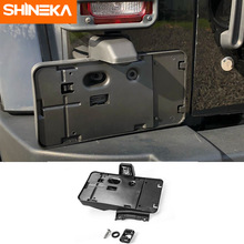SHINEKA ABS Car Exterior Rear License Plate Bracket Holder With 12V Light Decoration For Jeep Wrangler 2007-2017 Car Styling