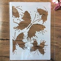 A4 29cm borboleta ponto de tinta diy estênceis estênceis pintura de parede scrapbook coloração gravação álbum modelo decorativo
