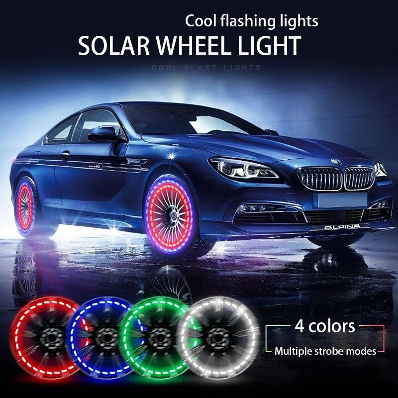 4 X Blue Tyre LED Car Wheel Tyre Air Valve Stem Caps Decoration Light Fit Bike