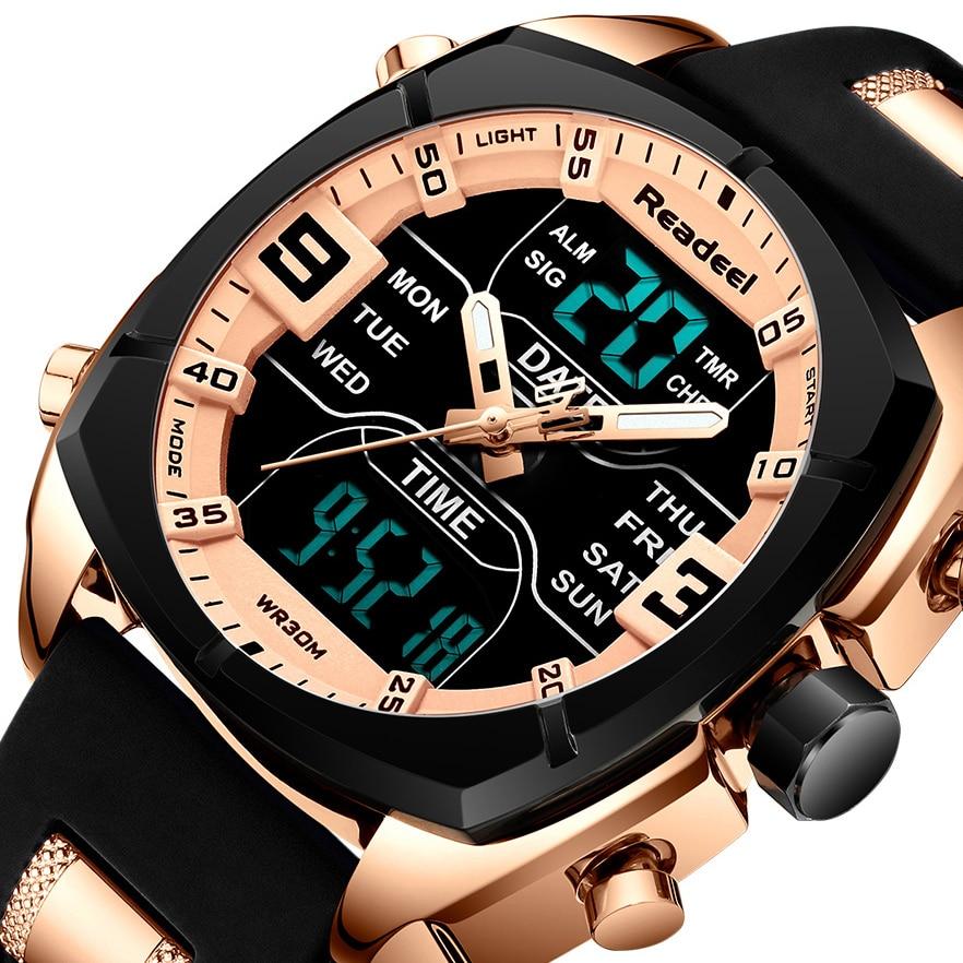 Mens Watches Luxury Brand Men Sports Watches Men's Quartz LED Digital Clock Male Rubber Military Wrist Watch Relogios Masculinos