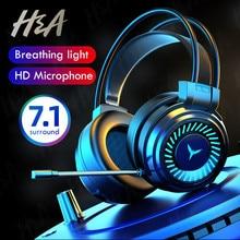 Игровые наушники H & A, проводные стереонаушники с объемным звуком и USB-микрофоном, игровая гарнитура для ПК и ноутбука с красочной подсветкой