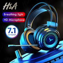 H amp A słuchawki dla graczy Gamer słuchawki dźwięk przestrzenny Stereo słuchawki przewodowe mikrofon USB kolorowe światło PC Laptop zestaw słuchawkowy do gier tanie tanio Dynamiczny CN (pochodzenie) PRZEWODOWY 120dB Brak 1 5m Do kafejki internetowej Do gier wideo Zwykłe słuchawki do telefonu komórkowego