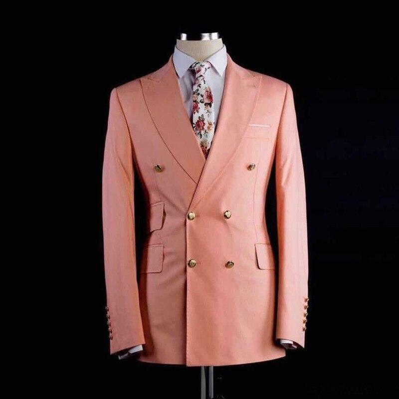 Custom Double Breasted Groomsmen Peach Groom Tuxedos Peak Lapel Men's Wedding Suits