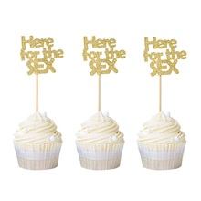 12pcs Gender Reveal Party Decors Here for the Sex Cupcake Toppers Boy or Girl Baby 1st Birthday Favor Free Shipping
