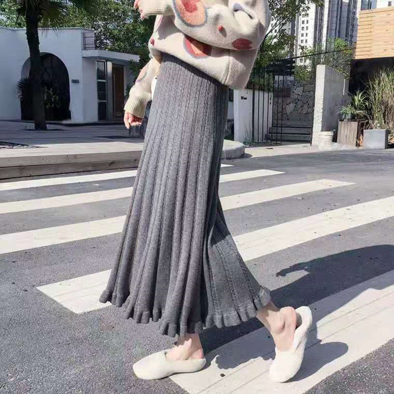 2019 New Korean Version Of The Long Section Skirt Knit Skirt Autumn And Winter Long Section Small Wooden Ear Side Wild Tide