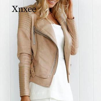 elegant Leather Women Short Jacket Coats Motor Biker Patchwork Ladies Jackets 2020 Autumn Winter Black Streetwear Female
