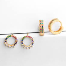 OCESRIO 2019 Colorful Zircon Hoop Earrings Queen Rose Gold Circle Round Small Ring for Women Fashion Jewelry ers-q25