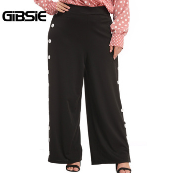 GIBSIE Black Side Button Wide Leg Pants Elegant Office Ladies Trousers Plus Size Women High Waist Workwear Pants Long Style