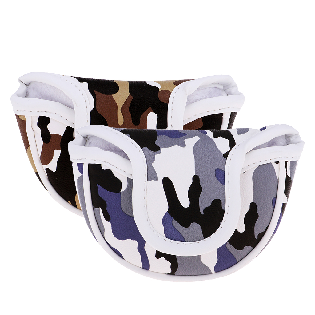 Premium PU Golf Headcover Guard Mallet Putter Cover Protector With Magnet Closure Camo. Blue Brown