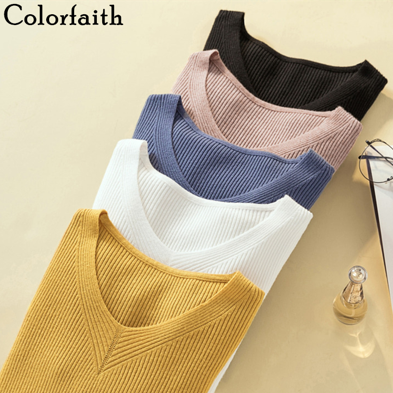 Colorfaith New 2019 Autumn Winter Women Sweaters Bottoming Knitting Korean Minimalist Style Slim Solid Multi Colors Tops SW1165