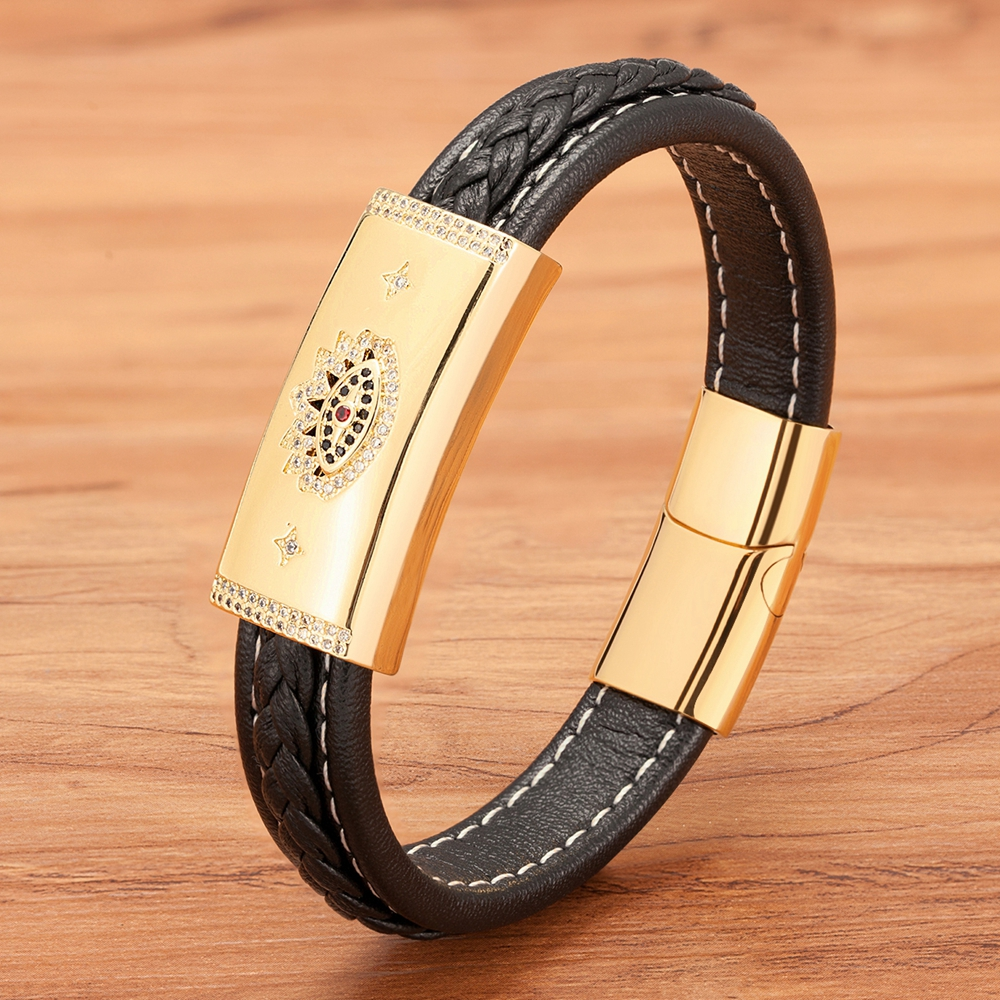 Big Sale Zircon Combination Leather Totem Sccessories Classic Stainless Steel Men's Leather Bracelet For Lucury Classic Gift