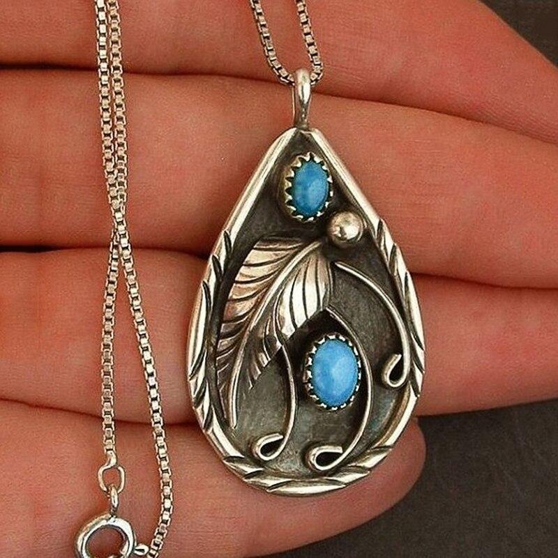 Huitan COLLAR COLGANTE con forma de gota de agua grabado bonito patrón de hojas resina azul fiesta Vintage delicados collares de mujer, joyería