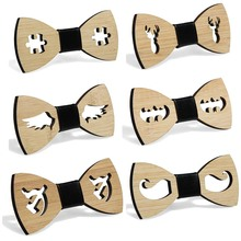Bamboo Wooden Bow Tie Handkerchief Set Men's Plaid Bowtie Wood Hollow carved cut out Floral design And Box Fashion Novelty ties