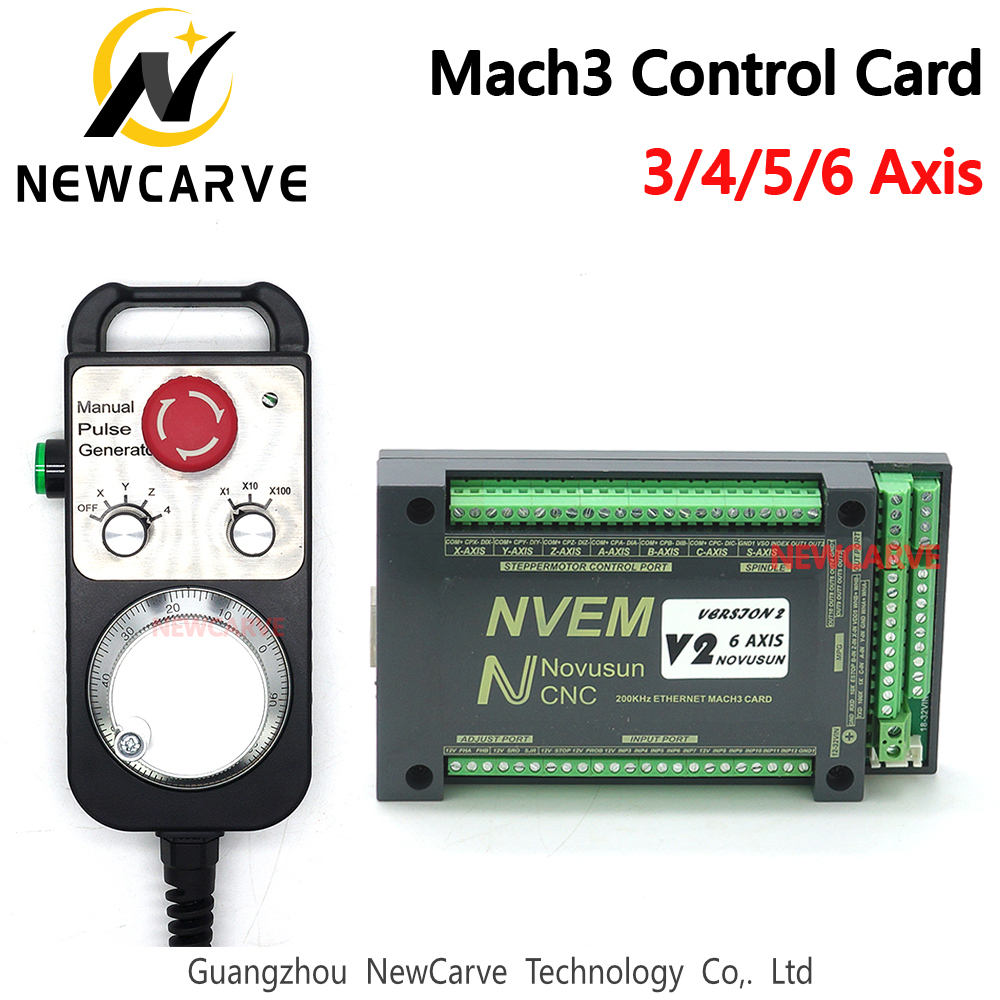 NVEM Mach3 Controller + MPG Handwheel  3 4 5 6 Axis Ethernet Port 200KHz For CNC Router NEWCARVE