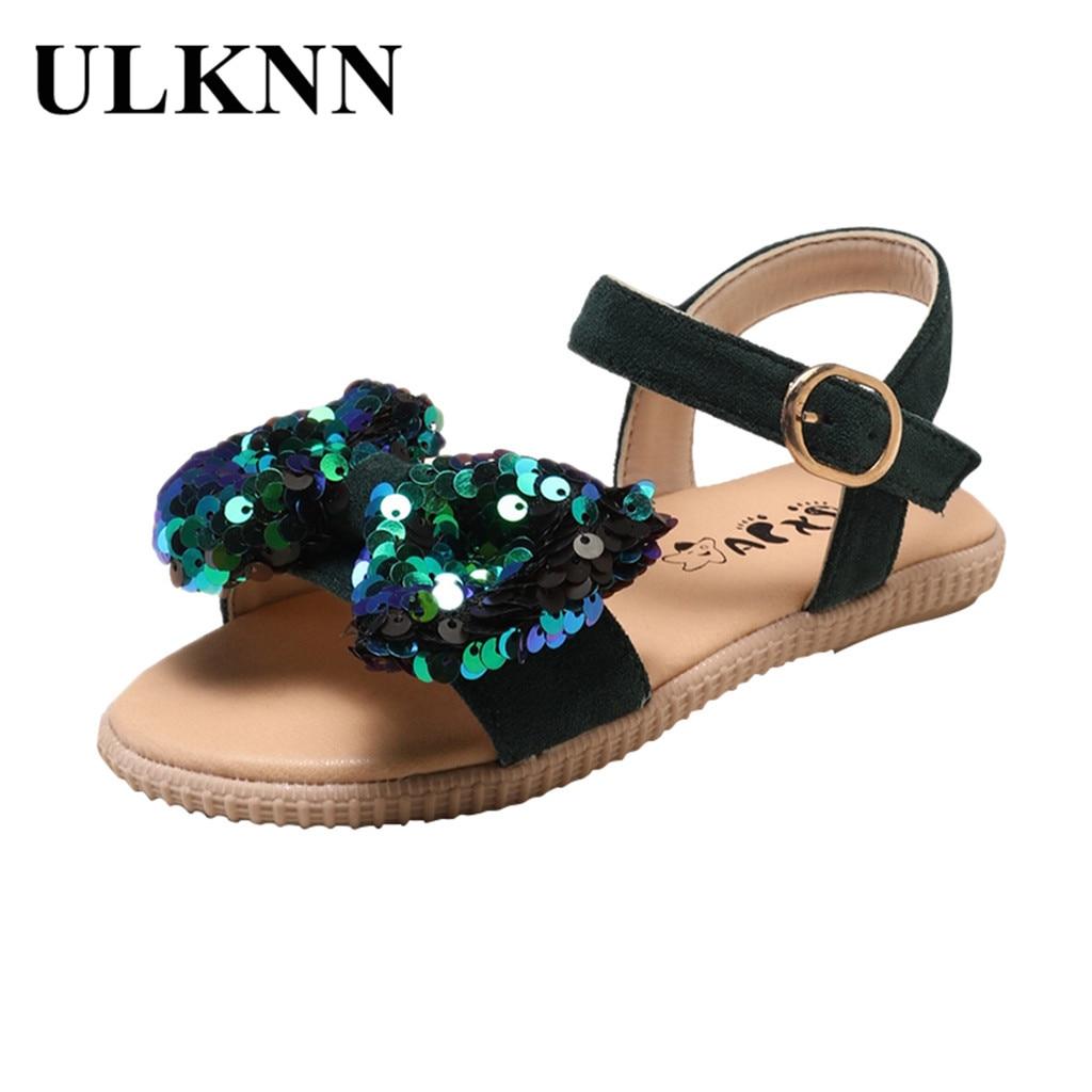 ULKNN Kids Shoes For Girl Sandals Girl Korean Version Sequin Princess Breathable Casual Shoes Sandals Kids#G30US