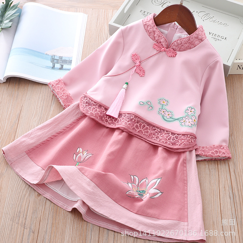 2019 CHILDREN'S Garment Chinese Clothing Girls' Summer Clothing Female Baby Chinese Culture Service Ancient Costume Long Sleeve|Sets| |  - title=